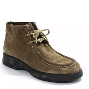 DKNY Womens Lace Up Moccasin Boots Brown Suede 8